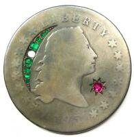 1795 FLOWING HAIR SILVER DOLLAR $1 - AG DETAILS EX-JEWELRY - HOLED -