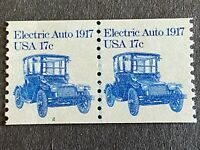 US STAMP 17 CENT SC 1906 ELECTRIC AUTO COIL STRIP OF 2 PLATE