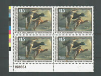 US SC  RW66 MINT/VF/NH PLATE BLOCK OF 4 FEDERAL DUCK STAMPS