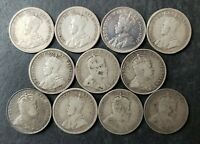 LOT OF 11 CANADA 10C TEN CENT SILVER PIECES