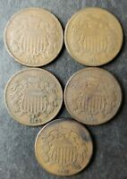 LOT OF FIVE 2C TWO CENT PIECES
