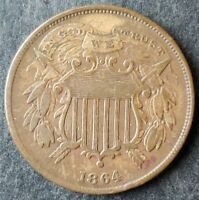 1864 2C TWO CENT PIECE SMALL MOTTO