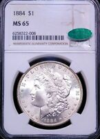 1884 P MORGAN SILVER DOLLAR NGC MINT STATE 65 CAC GORGEOUS CHAMPAGNE COLOR REV PQ G603