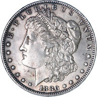 1880 MORGAN SILVER DOLLAR ABOUT UNCIRCULATED AU SEE PICS K357