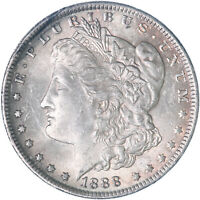 1888 MORGAN SILVER DOLLAR ABOUT UNCIRCULATED AU SEE PICS K206