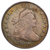 1806 50C POINTED 6, STEM O-113 TIED FINEST DRAPED BUST HALF DOLLAR PCGS EXTRA FINE 45