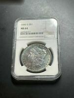 1880-S MONSTER TONED MORGAN DOLLAR NGC MINT STATE 64 COLOR SLAB804