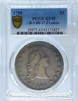 1795 FLOWING HAIR DOLLAR 3 LEAVES BB-27, B-5 PCGS EXTRA FINE 45 PA43171827