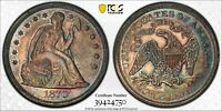1870 W/MOTTO PROOF SEATED DOLLAR PCGS PR 61 LOVELY TURQUOISE MAGENTA & GOLD