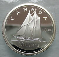 2008 CANADA 10 CENTS PROOF SILVER DIME HEAVY CAMEO COIN