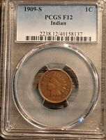GORGEOUS 1909 S KEY DATE INDIAN HEAD CENT PCGS CHOICE F12 AW