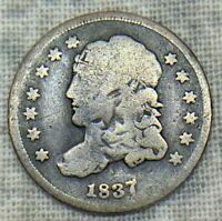 1837 CAPPED BUST HALF DIME LARGE 5C UNCERTIFIED COIN