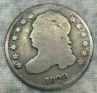 1829 CAPPED BUST DIME LARGE 10C UNCERTIFIED COIN