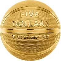 BASKETBALL SPHERICAL COIN  2020 $5 1 OZ PURE SILVER GILDED S