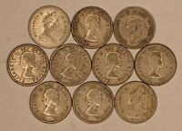 LOT OF 10 SILVER CANADIAN DIMES CIRC 187550D