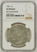 1901 MORGAN SILVER DOLLAR $1 NGC EXTRA FINE  EF DETAILS REVERSE SCRATCHED 5948256-006