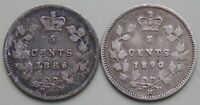 1886 1890 CANADA CANADIAN SILVER 5 CENT VICTORIA COINS LOT O