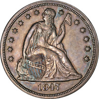 1847 SEATED LIBERTY DOLLAR NICE AU GREAT EYE APPEAL STRONG S