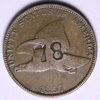 1857 FLYING EAGLE CENT PENNY COUNTER STAMP 78
