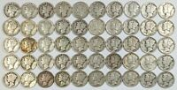 ROLL OF 50 MIXED DATES MERCURY SILVER DIMES 187818B