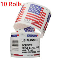 10 ROLLS OF 100 AMERICAN FLAG 55 FOREVER   UNOPENED US
