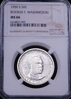 1950 S BOOKER T WASHINGTON SILVER HALF DOLLAR NGC MINT STATE 66 FROSTY JUST GRADED G724
