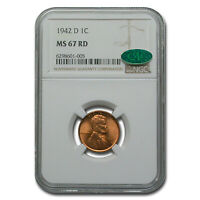 1942-D LINCOLN CENT MINT STATE 67 NGC CAC RED - SKU239102