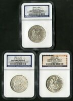 US COINS SS REPUBLIC SHIPWRECK SEATED HALF DOLLARS 1856 59 60 O SET OF 3 IN BOX