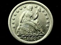 A LOVELY 1853 W/ ARROWS TYPE SEATED LIBERTY SILVER HALF DIME