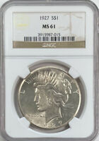 1927 PEACE DOLLAR MS 61 NGC CERTIFIED BEAUTIFUL LUSTROUS SIL