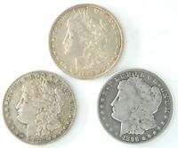 LOT OF THREE MORGAN DOLLARS 1883 S 1896 O 1896 S US 90 SILVER $1 ONE COINS