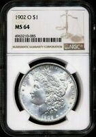 1902-O MORGAN NGC MINT STATE 64 BRIGHT WHITE 90 SILVER DOLLAR COIN NEW ORLEANS MINT BU