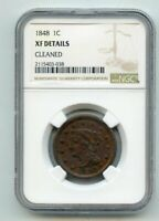 1848 BRAIDED HAIR LARGE CENT  XF DETAILS  NGC  CLEANED