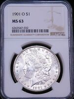 1901-O MORGAN SILVER DOLLAR NGC MINT STATE 63 BLAST WHITE LUSTER JUST GRADED G881