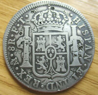 1802 FT MEXICO MO SPANISH COLONY 8REALES  PIECE OF EIGHT SIL