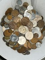 LOT OF MIXED FOREIGN COINS 14 POUNDS   ESTATE FIND