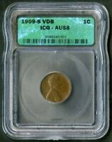 US COIN 1909 S VDB KEY DATE LINCOLN WHEAT CENT ICG AU58