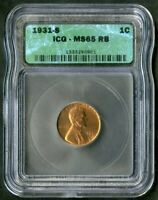 US COIN 1931 S SCARCE DATE LINCOLN WHEAT CENT ICG MS65 RB