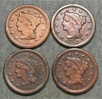 LOT OF 4 BRAIDED HAIR LARGE CENTS   1851 1852 1853 & 1854