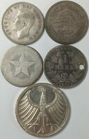 LOT OF 5 DIFFERENT COUNTRIES SILVER COINS 190992R