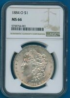 1884 O NGC MINT STATE 66 MORGAN SILVER DOLLAR $1 US MINT 1884-O NGC MINT STATE 66 PQ COIN