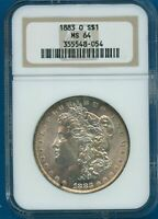 1883 O NGC MINT STATE 64 MORGAN SILVER DOLLAR $1 US MINT 1883-O NGC MINT STATE 64 PQ COIN