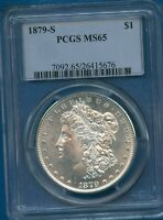 1879 S PCGS MINT STATE 65 MORGAN SILVER DOLLAR $1 US MINT 1879-S MINT STATE 65 SUPER PQ COIN