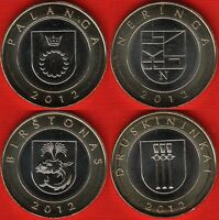 LITHUANIA SET OF 4 COINS: 2 LITAI 2012