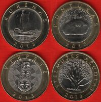 LITHUANIA SET OF 4 COINS: 2 LITAI 2013