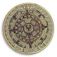 THE MAYAN AZTEC LONG COUNT CALENDAR GOLD PLATED COIN  TOKEN SOUVENIR