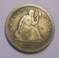 1857 O SEATED QUARTER TOUGH DATE SHARP NICE