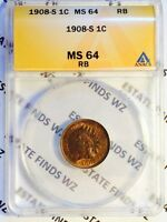 1908 S 1C MS64 RB ANACS   INDIAN PENNY CENT RED BROWN