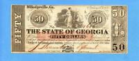 1865 $50 THE STATE OF GEORGIA,MILLEDGEVILLE,OBSOLETE NOTE AU UNC 1647