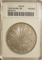 MEXICO 1883 ASML SILVER 8 REALE SOLID STRIKE BETTER MINT MARKANACS AU 55